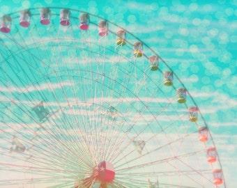 "8x10 photograph - ""Sky Ride"" -  fine art print - vintage photography - ferris wheel carnival - children's art"