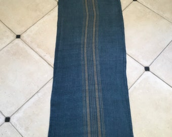 DNS1822 Grey Blue Dyed Vintage Linen Grain Sack with Taupe Stripe Upholstery Fabric Flour Sack for Sewing Projects Bath Mat Pillow Cover