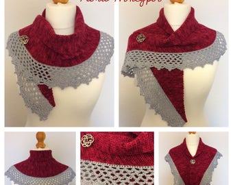 Hand crocheted shawl/scarf/wrap/mini shawl/Shawlette