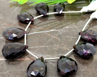 Natural Garnet 17-20mm Faceted Pear Briolette Beads / Approx 9 pieces on 6 Inch long strand / JBC-ET-149480