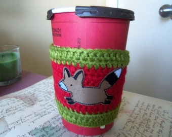 Red and Green Crochet Cup Sleeve. Handmade Cup Cozy. Crochet Cup Sleeve.