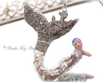 Soldered Mermaid Doll Necklace Silver Mermaid Pendant Bathing Doll Lorelie Kay Original
