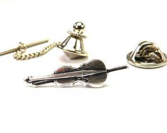 Cello Pin, Cello Tie Tack, Sterling Silver Ox Finish Cello Lapel Pin or Cello Tie Pin