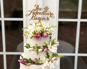 The Adventure Begins Wedding Cake Topper - Travel Theme Wedding Cake Topper - The Adventure Begins - Nautical Cake Topper - Nautical Theme