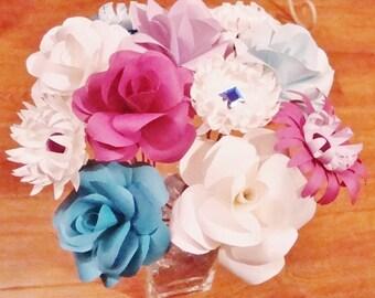 Paper Flower Bouquet - Paper Rose Bouquet | Rose Bouquet | Wildflower Bouquet | Paper Flowers | Bridal Bouquet | Wedding Paper Flowers