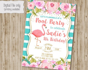 Floral Flamingo Birthday Invitation, Flamingo Invitation, Tropical, Watercolor, Floral, Shabby Chic, Boho, Girl Birthday Invitation