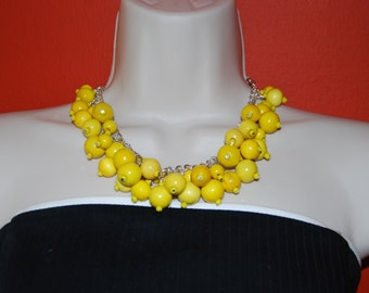 Yellow Statement Necklace and Earrings Set Chunky Beaded Necklace Wood Bead Necklace Wedding Jewelry Bridesmaids Necklace