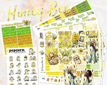 NewRELEASE Honey Bee set kit weekly stickers - for Erin Condren VERTICAL Planner - sunflowers summer floral flowers girls fashion