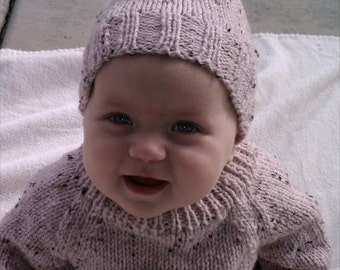 soft pink tweed baby hat -size 3 - 6 months hand knit