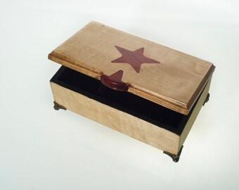 Inlayed Music box. Made with beautiful Tiger Maple snd contrasting padauk inlay.