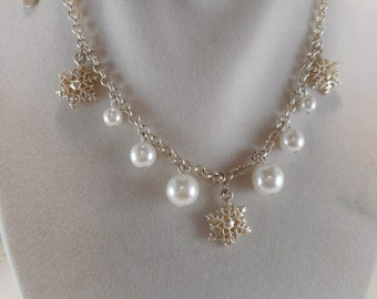Icing Signed Pearl and Snowflake Necklace 14 inch With 3 inch Adjustment