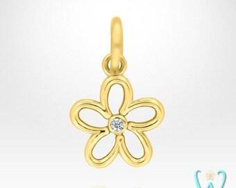14K Diamond Flower Pendant or Necklace