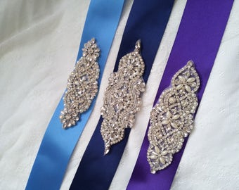 Blue Bridal sash, navy bridal belt, purple crystal bridal sash, navy sash, blue crystal sash, purple wedding dress belt, bridesmaid sash