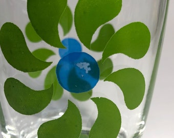 """Vintage Swanky Swigs Green Blue Psychedelic Print Flower Clear Juice Glasses 3.5"""" tall Set Of 3"""