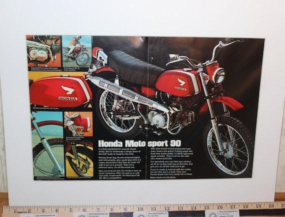"1969 Vintage Honda Motosport SL-90 Motorcycle - 16"" x20"" Matted Print Ad Art #de69da13m"