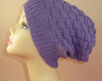HALF PRICE SALE Instant Digital File Pdf Download knitting pattern only -  Basket Weave Spring Slouch Hat pdf knitting pattern