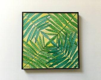 15/100: geometric leaves - original framed watercolor illustration
