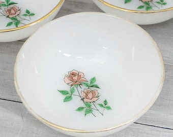 Fire King Anniversary Rose berry / dessert bowls set of 3 with gold trim, Milk glass for Tea parties, Bridal Showers or Collections