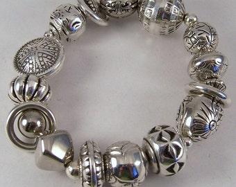 Chunky Silver Bracelet.. Silver Plated Beaded Stretch Bracelet