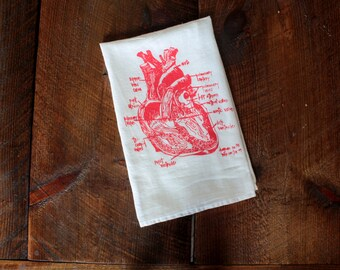 Heart Tea Towel - Heart Towel - Kitchen Towel - Heart Hand Towel - Diagram of Heart Towel - White Cotton Dish Towel
