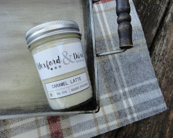 Caramel Latte Natural Soy Candle - 8 oz - Wooden Wick