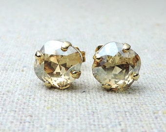 Swarovski Crystal Champagne Rose Gold Post Earrings Cushion Cut Square Earrings Bridal Jewelry Wedding Earrings Bridesmaids Gifts
