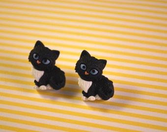 Black Cat Earrings -- Black Cat Studs, Black and White