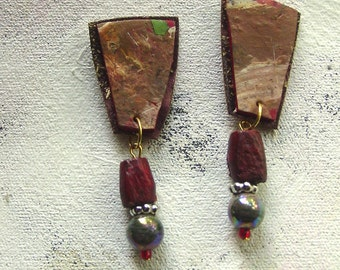 Cocoa earrings upcycled artist palette in autumn colors