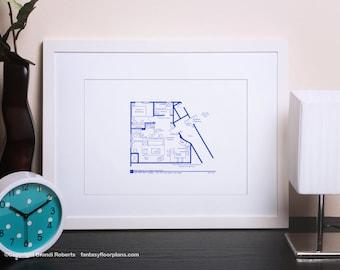 Seinfeld Apartment Layout - TV Show Floor Plan - BluePrint Poster Art for Sitcom Apartment of Jerry Seinfeld - Seinfeld Poster