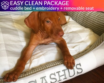 DIRTY DOG PACKAGE - Custom Cuddle Bed with Easy to Clean Removable Seat