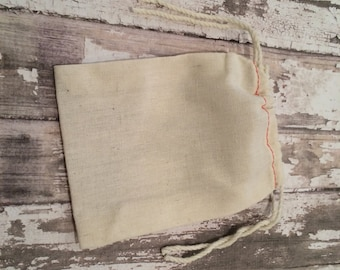 "Set of 25 Cotton Muslin Double Drawstring Bags with Red Stitching, 3 1/2 X 5"", Unprinted Natural Cotton Bags, Wedding Favor or Gift Bags."