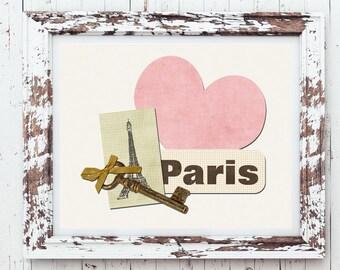 Vintage looking LOVE PARIS Design Wall Decor, Instant Download, DIY,