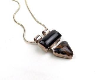 Two Stone Pendant Necklace, Sterling Silver, Onyx, Pietersite, simplicity