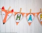 Fox woodland Party printable banner custom words A-Z baby shower banner birthday bunting flag banner party decoration