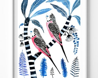 Australia Wall Art Print Nursery Decor Parakeet Pink Budgies Frangipani Wall Decor Bird Lover Gift Tropical Print Summer