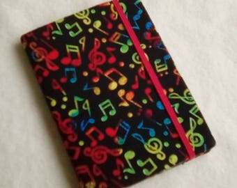 Fabric Covered Pocket Memo Book, BRIGHT NOTES, Refillable Mini Composition Notebook Cover in Music on Black