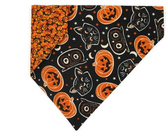Halloween Dog Bandana –Jack-o-lanterns, Cats & Owls-Vintage–Reversible–Slides on Collar