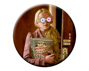 "LUNA LOVEGOOD 6 Sm Pins, L Magnet or Pin - Choose 6 Sm 1.25"" Luna Buttons, One Lg 2.25"" Pin or One Lg 2.25"" Magnet Harry Potter Character"