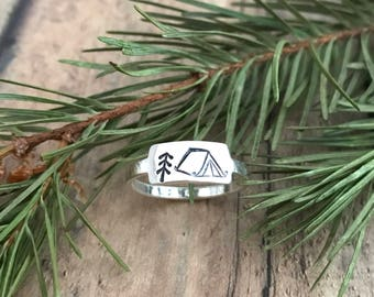 Tent Camping and Pine Tree Ring, Hand Stamped, Sterling Silver, Camping Tent and Stick Pine Tree Ring