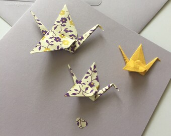 Origami crane greeting card