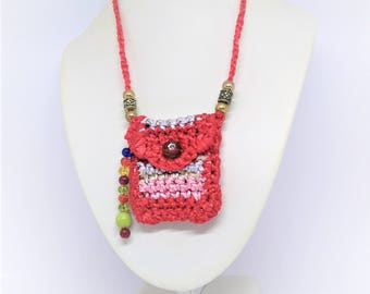 multicolored crocheted in cotton sateen pouch / / mini pouch / / necklace / / women's fashion accessory / / made in France