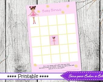 "Digital printable - Baby Shower Bingo Game Card ""Ballerina"" -  French and english"