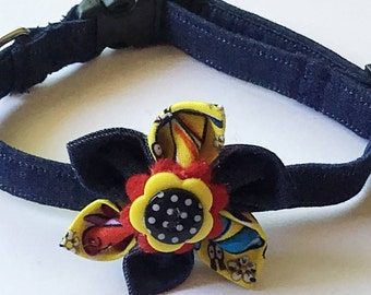 Blue Denim Collar with Matching Flower for Girl Dog or Cat