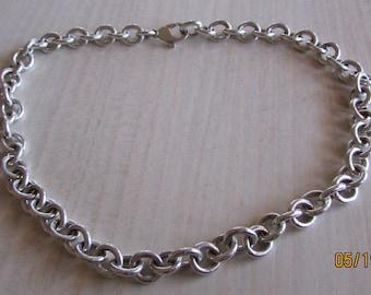 "Heavy Handmade Sterling Silver Chain 17 1/2"""