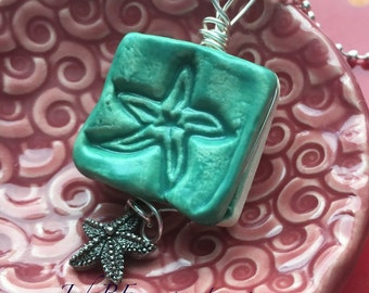 Pendant Stoneware Ceramic Wire Wrapped Satin Teal Dragonfly with Charm Ready to Ship Great Stocking Stuffer PNT0019