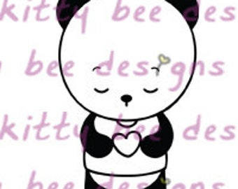 Heart Panda Digital Stamp