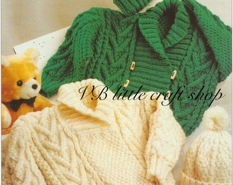 Aran jacket sweater and hat knitting pattern. Instant PDF download!