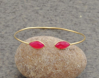 Hot Pink Chalcedony Marquise 7x15mm Micron Gold Plated Sterling Silver Bangle #1290