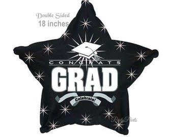 congrats grad balloon, black and white graduation party decorations, star decor, celebrate graduation cap, class of 2018, graduates, gift