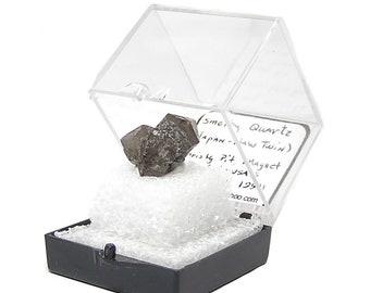 Quartz Japan Law Twin Crystal Dark Smoky Quartz Thumbnail Specimen Magnet Cove from an estate mineral collection, USA Gemstone